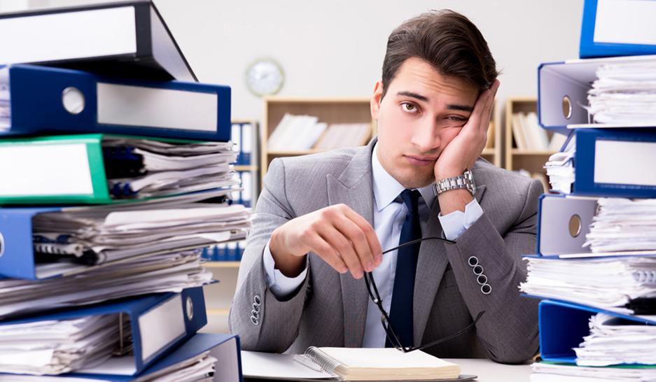 Man doing a boring job